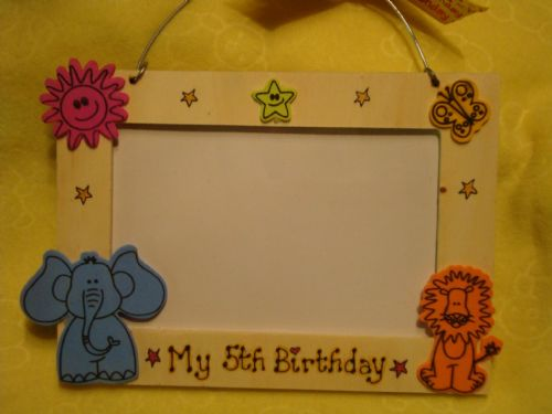 SALE** was £4.99 My 5th Birthday Wooden Photo Frame for 6 x 4 inch picture Jungle animal theme Handmade Unique Ready To Despatch